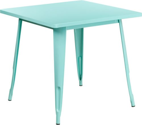 315 Square Industrial Style Mint Green Metal Indoor Outdoor Restaurant Table