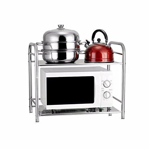 lzzfw Kitchen racks microwave rack shelf ceiling stainless steel pot home mini rack shelf 603553cm Tier 2