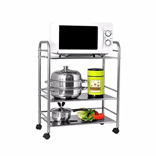 lzzfw Kitchen racks microwave rack shelf ceiling stainless steel pot home mini rack shelf to the three-tier 403575cm
