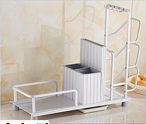 lzzfw Punch-free kitchen rack space aluminum ceiling shelf chuck lid frame seasoning rack shelf admit white B