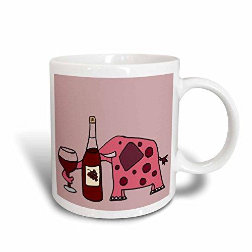 3dRose mug_200461_1 Funny Pink Elephant Drinking Wine Ceramic Mug 11 oz White