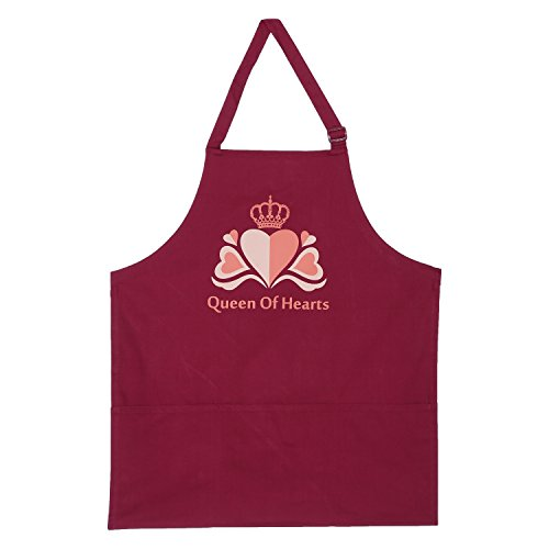 Screen Print Cooking Apron Duck Cotton - Kitchen Gifts for Women -31x26 Inch-Free Adjustable Size -Chefs Apron-Queen Of Hearts