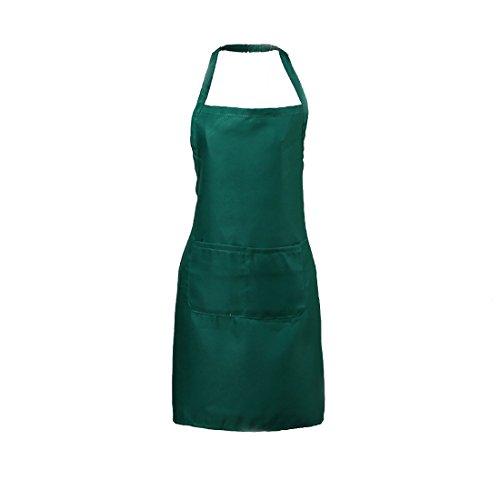 LissomPlume Unisex Home Kitchen Apron Chef Cooking Bib Women Men Work Bistro Aprons with Pockets - Dark Green