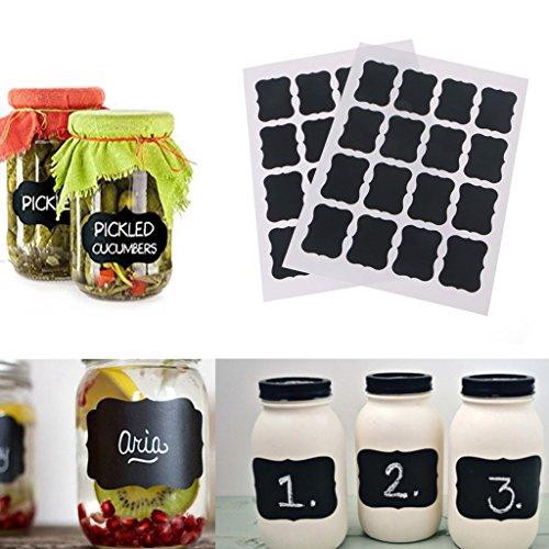 BetterM 2 Sheets Chalk Pen Chalkboard Sticker  Kitchen Bottle Labels For Jar Wall Cup Can