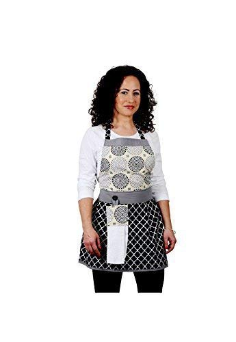 Modern ApronBlack Whit e apron by The Bedford Life Womens One Size Black White 100 Cotton Mommy Daughter Available