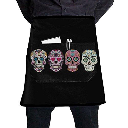 Unisex Sugar Skulls Half Waist Apron With Pocket Kitchen Cooking Restaurant Half Bistro Aprons For Chef Baker Servers Waitress Waiter