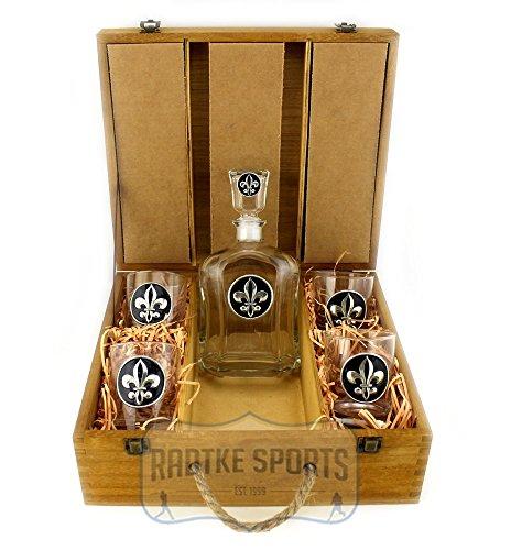 New Orleans Saints Capitol Decanter Box Set - Black Enamel Emblem