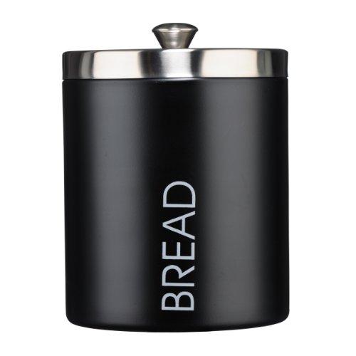 Premier Housewares Black Enamel Bread Bin With Silver Lid Wording Detail