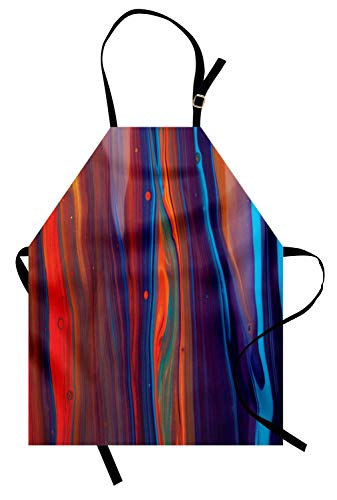 Ambesonne Colorful Apron Close up of Oil Painting Design Horizontal Line Composition Abstract Modern Art Unisex Kitchen Bib Apron with Adjustable Neck for Cooking Baking Gardening Multicolor