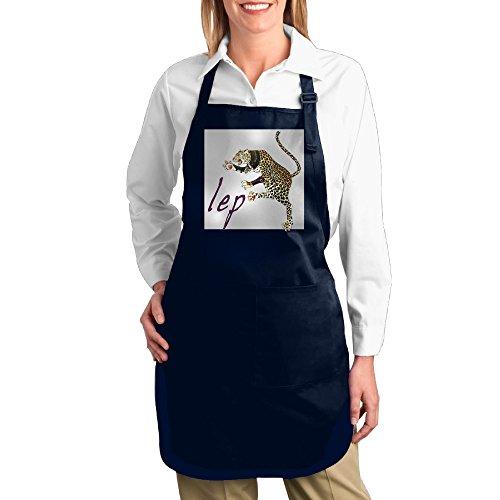 Cat LeopardUnisex Pocket Black Kitchen Apron Bib