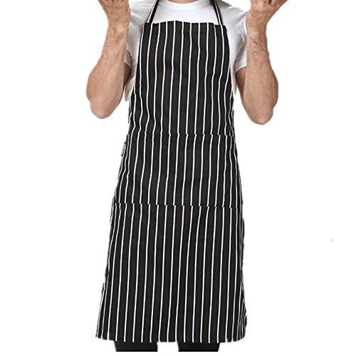 M-Trunkshun Unisex 2 Pocket Black Kitchen Apron Bib One Size In Medium For Restaurant Bar Caf¨¦ Coffee Shop Bistro Color 1