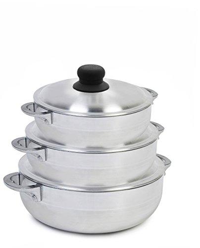 IMUSA USA GAU-89226 Polish Aluminum Caldero Set 3-Piece Silver