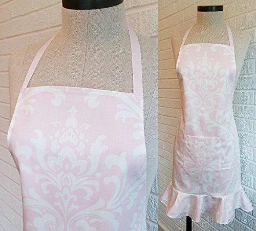 Blush Pink Elegant Print Ruffle Apron with Pocket - Made in USA Free Shipping