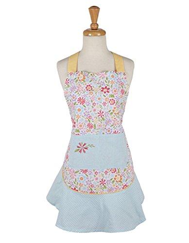 DII Design Imports Flower Party Ruffle Blue Plaid Apron 26 X 285 Adjustable Ties 100 Cotton Machine Wash