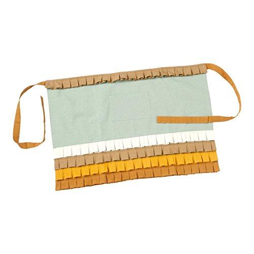 Hallmark Home Cotton Apron with Pocket Retro Mint Bistro with Multi-Colored Box Pleat Ruffles