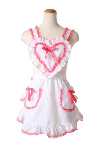 Heart White × pink ruffle apron
