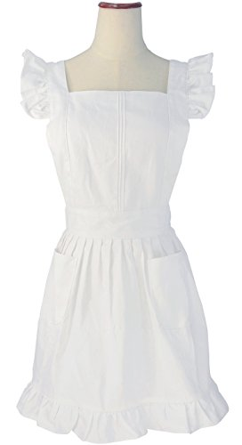 LilMents Retro Adjustable Ruffle Apron Kitchen Cooking Baking Cleaning Maid Costume White