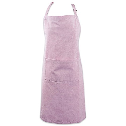 DII Cotton Adjustable Chambray Bib Chef Apron with Pockets and Extra Long Ties 32 x 28Kitchen Men Women Apron for Cooking Baking Gardening BBQ-Rose Pink