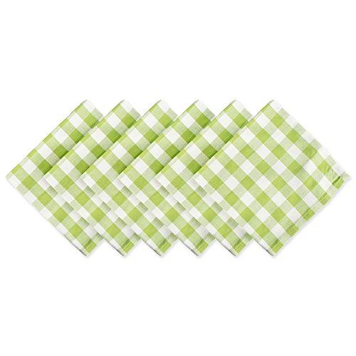 DII 100 Cotton Oversized Basic Everyday 20x 20 Napkin Set of 6 Green Apple Check