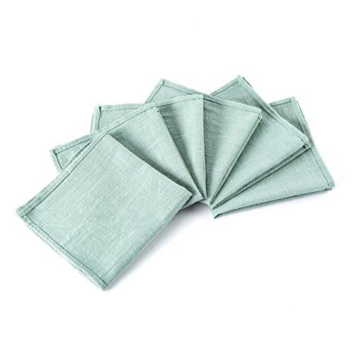 Reusable everyday cloth napkins mint green natural cotton napkins 12 inch Unpaper towels Small cotton squares Set of 6