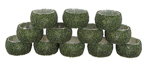 Shalinindia Handmade Beaded Napkin Rings Set With 12 Light Green Glass Beaded Napkin Holders - 15 Inch in Size