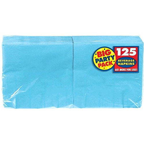 Big Party Pack Caribbean Blue Beverage Paper Napkins 125 Ct