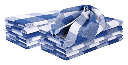 Cloth Napkin Buffalo Plaid Fabric-18x18 Royal Blue WhiteWedding Napkins Cocktails Napkins Fabric Napkins Cotton Napkins Mitered Corners Generous Hem Machine Washable Dinner Napkins Set Of 6