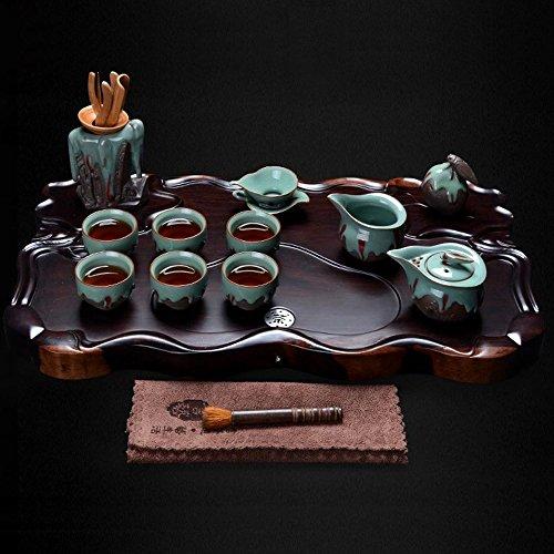 Ebony Wood Tea Tray Ru Kiln Ceramic Kung Fu Tea Set Tea Service Chinese Style Ceramic Teaware