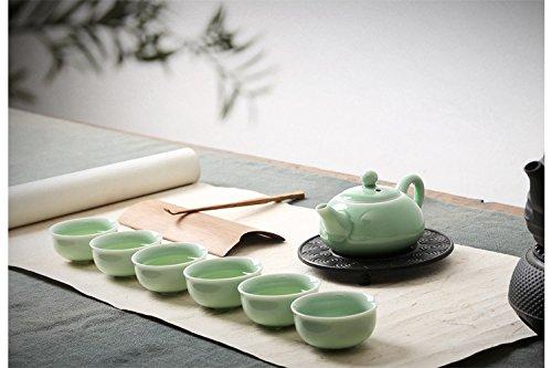 Eternal Chinese Porcelain Kung Fu Tea SetCeladon Carp Pattern Teacup Ceramic Tea Pot 7-pack Green