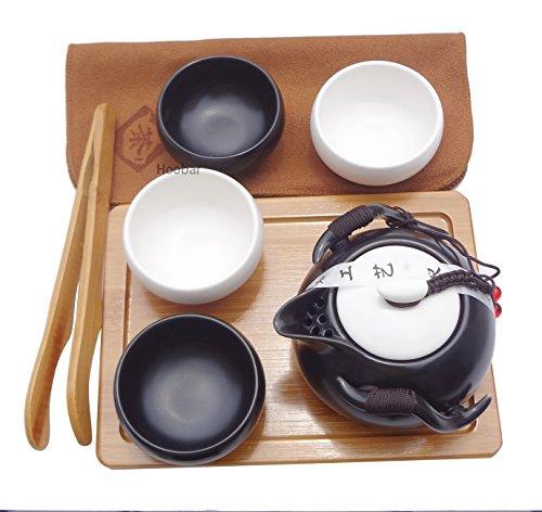 Hoobar Ceramic Kungfu Tea Set Chinese Style Handmade Teapot and Teacups with Portable Travel Bag and Tea Tray Black  White
