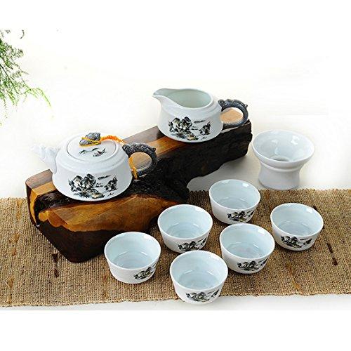 Kung Fu Tea Set - 7 Piece Teapot and Teacups - Teacup Holder - Eastern Mountain Art