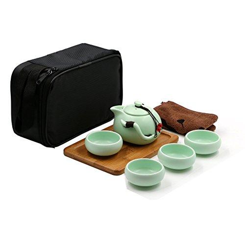 T Tocas Kungfu Tea Set Handmade Chinese Japanese Vintage Design Portable Travel Tea Set With Porcelain Teapot 4 Teacups Bamboo Teatray Storage Bag Green