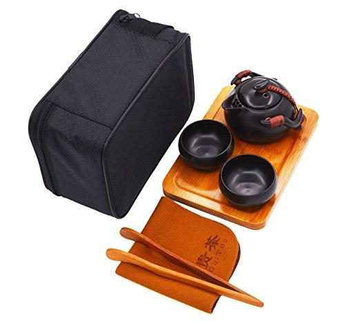Vegali Chinese  Japanese Style Portable Travel Kungfu Tea Set-100 Handmade Black