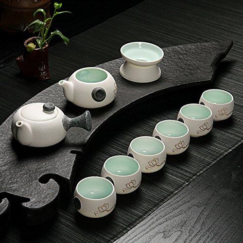XDOBO Imported Snowflake Pattern Teapot Sets Vintage Chinese Japanese Style Porcelain Handmade Kung Fu Tea Set - Set of 10 White