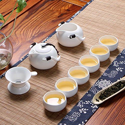 XDOBO Imported Vintage Chinese Japanese Style Porcelain Handmade Kung Fu Tea Set 10-pack White