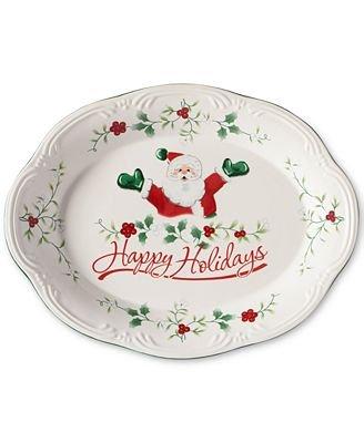 Pfaltzgraff Winterberry Happy Holidays Santa 11 Oval Stoneware Platter