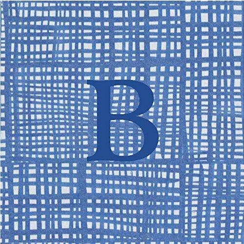 Cocktail Napkins Personalized Custom Paper Napkins Blue Plaid Monogrammed 100 Pcs Letter B