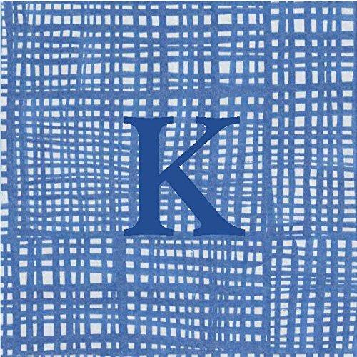 Cocktail Napkins Personalized Custom Paper Napkins Blue Plaid Monogrammed 100 Pcs Letter K