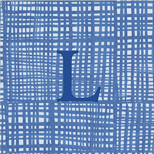 Cocktail Napkins Personalized Custom Paper Napkins Blue Plaid Monogrammed 100 Pcs Letter L