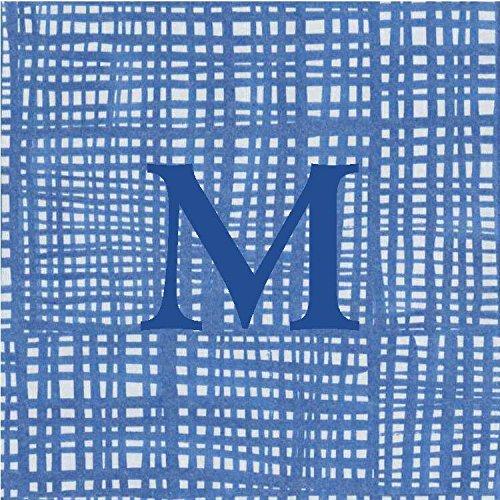 Cocktail Napkins Personalized Custom Paper Napkins Blue Plaid Monogrammed 100 Pcs Letter M