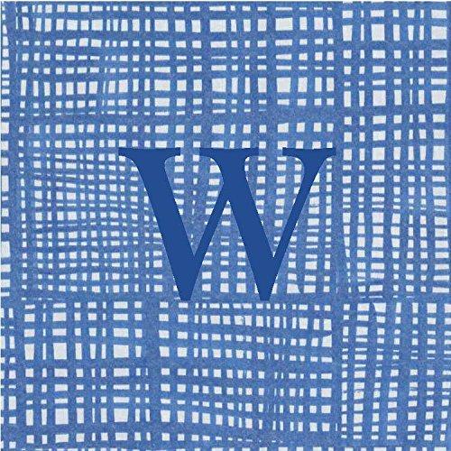 Cocktail Napkins Personalized Custom Paper Napkins Blue Plaid Monogrammed 100 Pcs Letter W