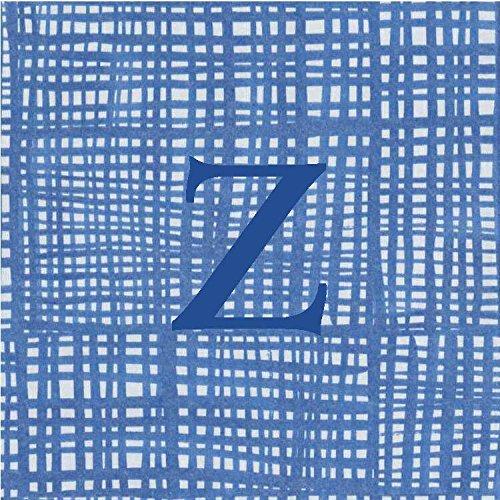 Cocktail Napkins Personalized Custom Paper Napkins Blue Plaid Monogrammed 100 Pcs Letter Z