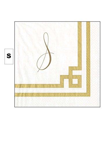 Cocktail Napkins Personalized Custom Paper Napkins Wedding Gold Monogrammed 100 Pcs Letter S