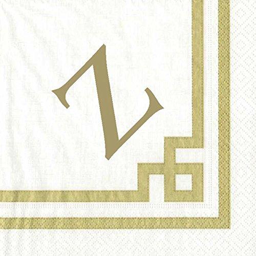 Cocktail Napkins Personalized Custom Paper Napkins Wedding Gold Monogrammed 100 Pcs Letter Z
