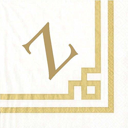 Luncheon Napkins Personalized Custom Paper Napkins Wedding Gold Monogrammed 100 Pcs Letter Z
