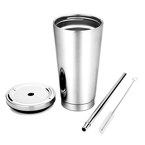 16oz Stainless Steel Cup by KorsmallHot and Cold Double Wall Drinking Mug Stainless Steel Tumbler Cups with lids and Drinking Straws Stainless Steel