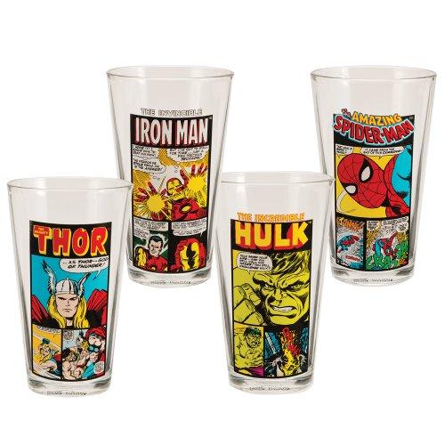 Vandor 26212 Marvel Comics 4 pc 16 oz Glass Set Multicolor