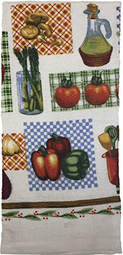 Set of 4 Everyday Basic Printed Terry Kitchen Towels Size  15 x 25 - Mix Vegetable