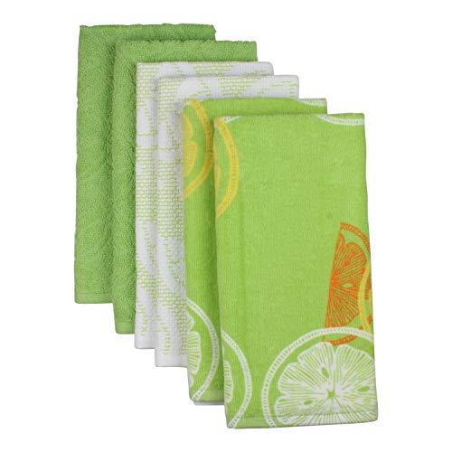 Freshee 100 Cotton 6 Piece Green Kitchen Towel Set