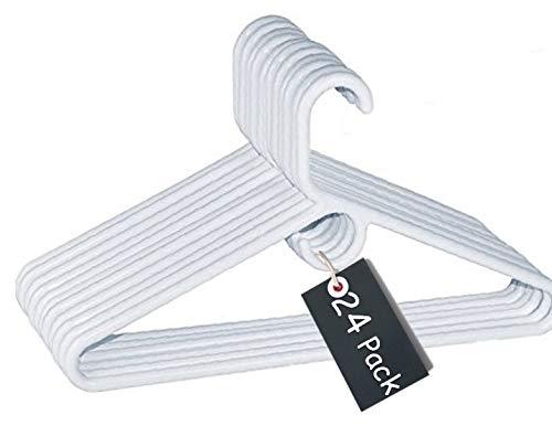 1InTheHome Heavy Duty White Hangers Tubular Plastic Hangers Set of 24 Heavy Duty